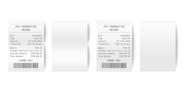 2 Vector Realistic 3d Paper Printed ATM Transaction Record Receipt Set Closeup Isolated on White Background. Design Template of Bill ATM, Receipt Records, Paper Financial Check for Mockup. Top View. receipt stock illustrations