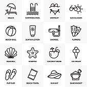 SUMMER AND BEACH LINE ICONS SET