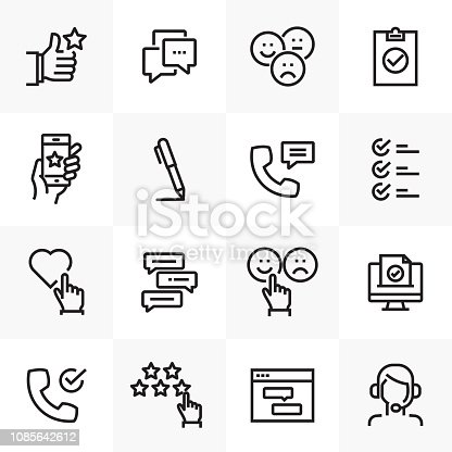 SURVEY AND TESTIMONIALS RELATED LINE ICONS SET