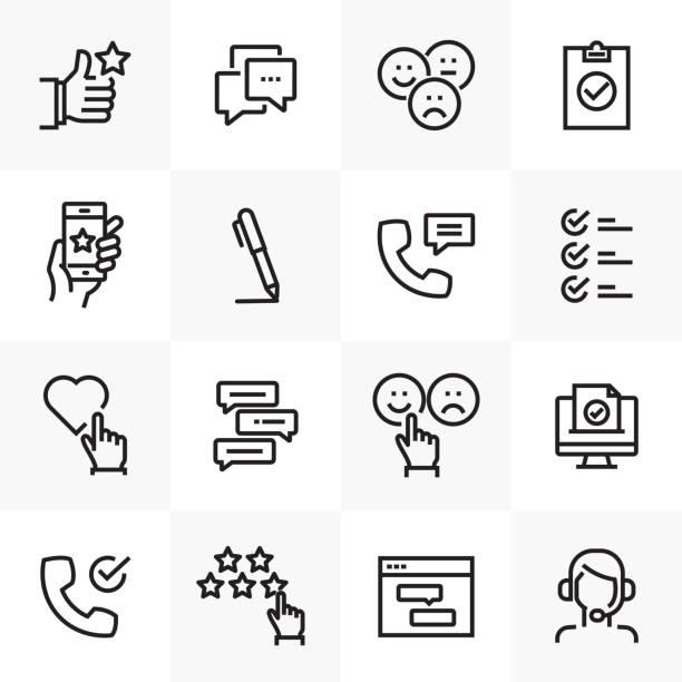 illustrations, cliparts, dessins animés et icônes de enquête et témoignages ligne associée icons set - relation client