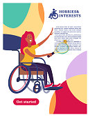 A woman with a wheelchair playing tennis. The concept of a society and a community of persons with disabilities. Hobbies, interests, lifestyle of people with disabilities. Vector illustration of flat cartoon style, isolated, white background.