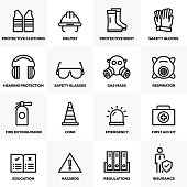 WORK SAFETY LINE ICONS SET