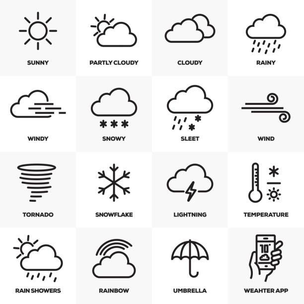 wetter verwandte linie icons set - schneeflocke sonnenaufgang stock-grafiken, -clipart, -cartoons und -symbole