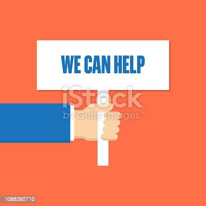 WE CAN HELP MEGAPHONE LINE FLAT