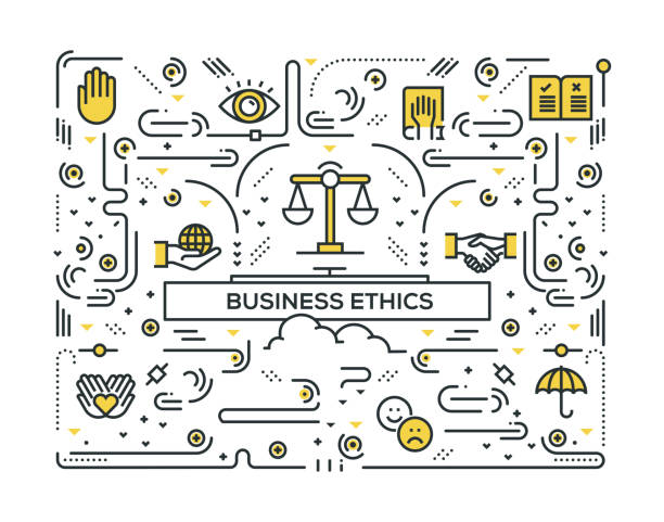 BUSINESS ETHICS RELATED LINE ICONS PATTERN DESIGN BUSINESS ETHICS RELATED LINE ICONS PATTERN DESIGN corporate responsibility stock illustrations
