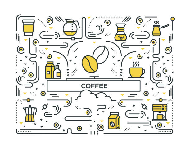 coffee line icons pattern design - coffee stock illustrations, clip art, cartoons, & icons