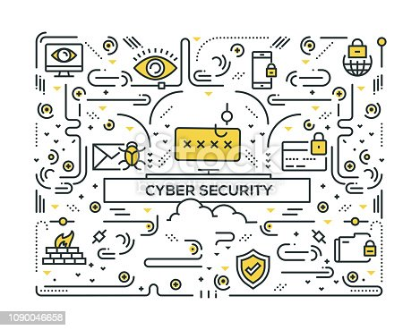 CYBER SECURITY RELATED LINE ICONS PATTERN DESIGN