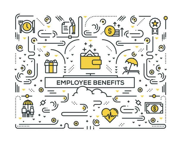 ilustrações de stock, clip art, desenhos animados e ícones de employee benefits line icons pattern design - benefits