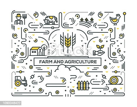 FARM AND AGRICULTURE LINE ICONS PATTERN DESIGN