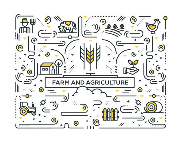 FARM AND AGRICULTURE LINE ICONS PATTERN DESIGN FARM AND AGRICULTURE LINE ICONS PATTERN DESIGN beekeeper stock illustrations