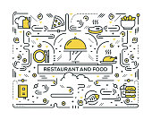 RESTAURANT AND FOOD RELATED LINE ICONS PATTERN DESIGN
