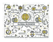GLOBAL BUSINESS LINE ICONS PATTERN DESIGN