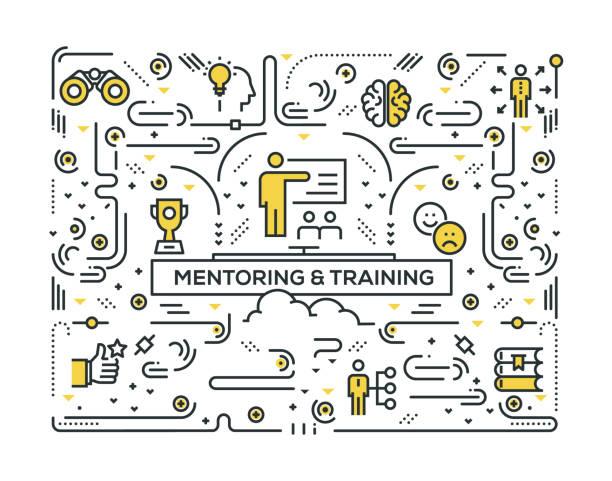 ilustraciones, imágenes clip art, dibujos animados e iconos de stock de mentoreo y entrenamiento diseño de patrón de los iconos de línea - training