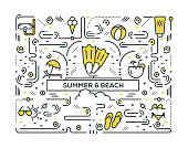 SUMMER AND BEACH LINE ICONS PATTERN DESIGN