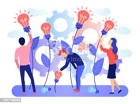 A group of people collects the fruits of plants in the form of a light bulb idea. Business creative idea. Concept for business and innovative technologies. Flat character graphic design Vector banner