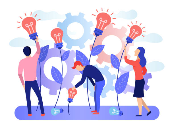 Печать A group of people collects the fruits of plants in the form of a light bulb idea. Business creative idea. Concept for business and innovative technologies. Flat character graphic design Vector banner collaboration stock illustrations