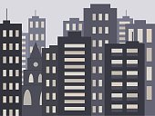 Cute urban cityscape in the evening or at night: modern houses, buildings and Church or Cathedral. Vector illustration