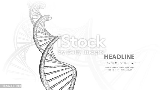 Abstract 3d polygonal wireframe dna molecule helix spiral on white background. Medical science, genetic biotechnology, chemistry biology, gene cell concept vector illustration or background