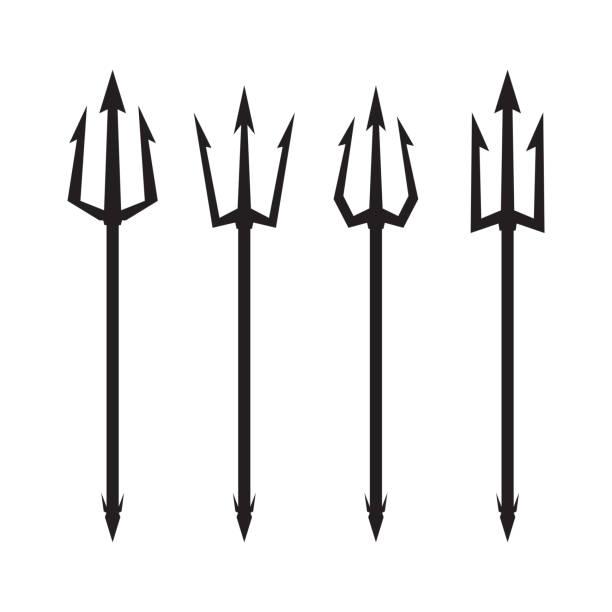 Печать Poseidon's Trident set. Vector logo on white background. pitchfork agricultural equipment stock illustrations