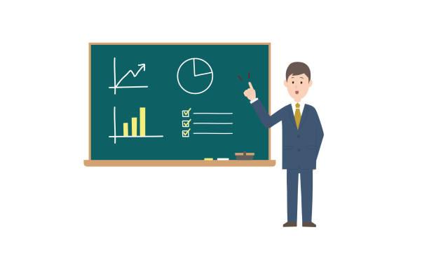 プレゼンするビジネスマン - グラフ stock illustrations
