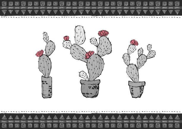 サボテンのイラスト ベクター素材 カード モノクロ 手書きイラストのベクター素材 illustrations and モノクロ stock illustrations