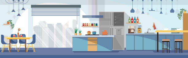 персонажи копия7 Modern, Spacious Kitchen Interior Cartoon Vector Panoramic Illustration with Chairs Around Dining Table, Various Contemporary Kitchen Appliances, Dishes and Cooking Devices. Household Background domestic kitchen stock illustrations