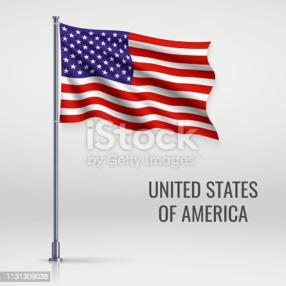 Waving flag of United States on flagpole. Template for independence day poster design
