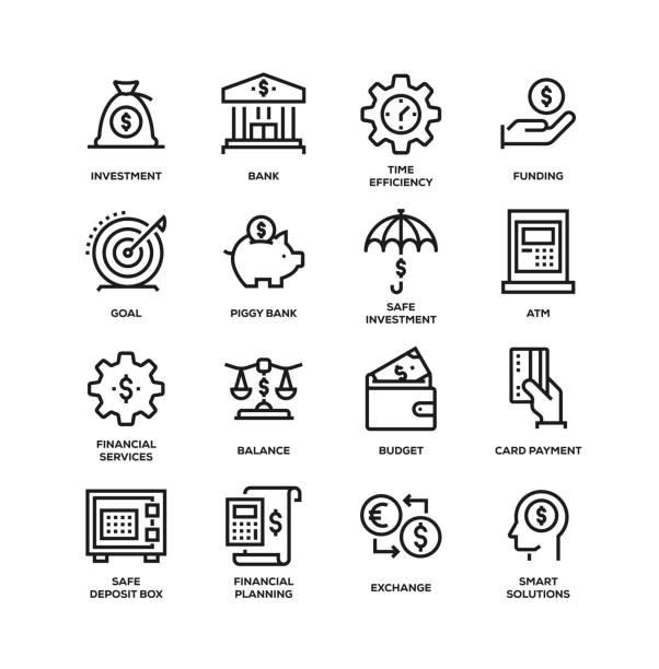 バンキングおよびファイナンスラインアイコンセット - 金融と経済点のイラスト素材/クリップアート素材/マンガ素材/アイコン素材