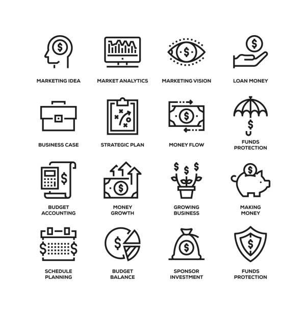 ビジネスエコノミクスラインアイコンセット - 金融と経済点のイラスト素材/クリップアート素材/マンガ素材/アイコン素材