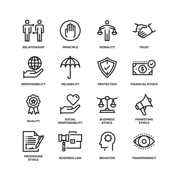 stockillustraties, clipart, cartoons en iconen met business ethics lijn icon set - trust