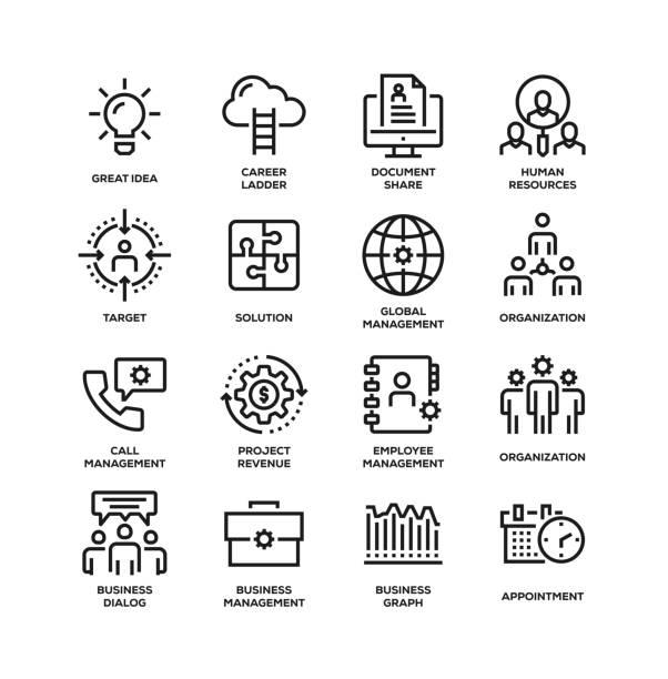 ビジネス管理ラインアイコンセット - 金融と経済点のイラスト素材/クリップアート素材/マンガ素材/アイコン素材
