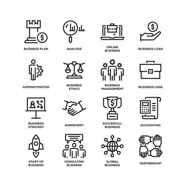 商業專線圖示套裝 - 金融與經濟 幅插畫檔、美工圖案、卡通及圖標