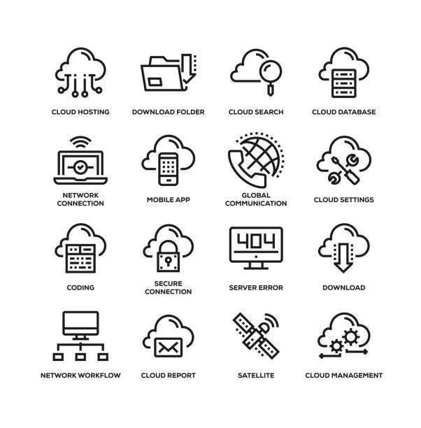 클라우드 데이터 기술 라인 아이콘 세트 - 사람 모형 제작물 stock illustrations