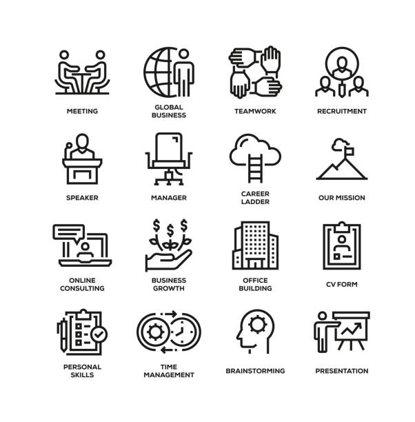 コーポレートビジネスラインアイコンセット - 金融と経済点のイラスト素材/クリップアート素材/マンガ素材/アイコン素材