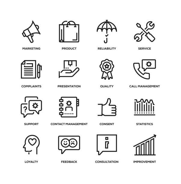 고객 관계 선 아이콘 세트 - 인간 속성 stock illustrations