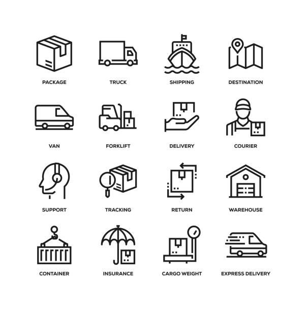 bildbanksillustrationer, clip art samt tecknat material och ikoner med ikon uppsättning för leverans linje - on demand