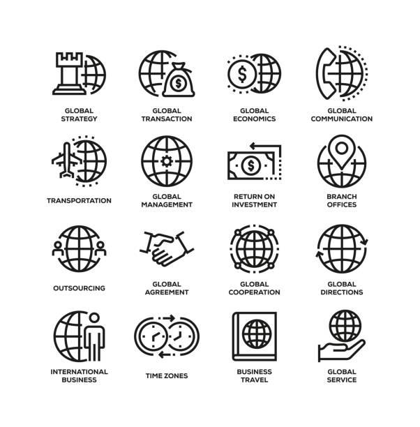 グローバルビジネスラインアイコンセット - 金融と経済点のイラスト素材/クリップアート素材/マンガ素材/アイコン素材