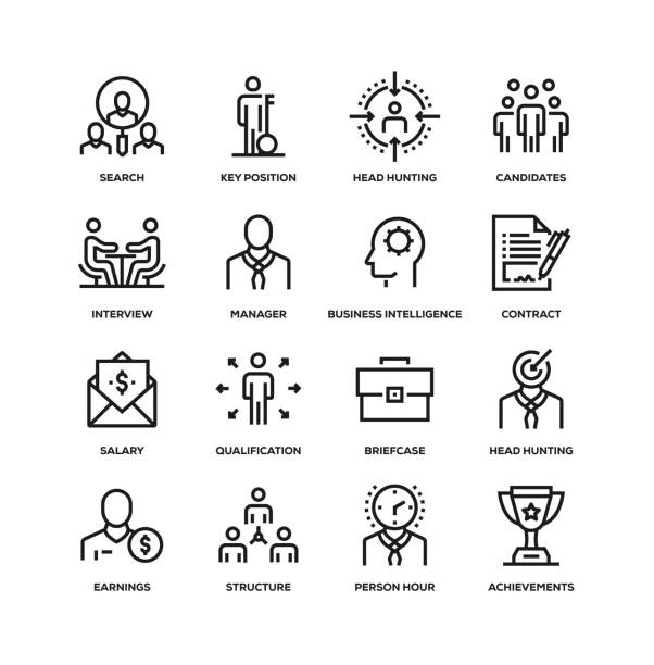 HEAD HUNTING LINE ICON SET HEAD HUNTING LINE ICON SET candidate stock illustrations