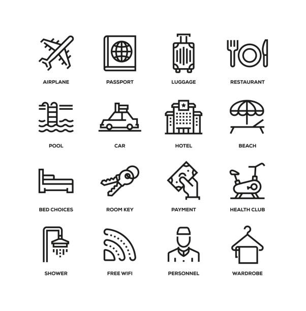 HOTEL LINE ICON SET HOTEL LINE ICON SET security equipment stock illustrations