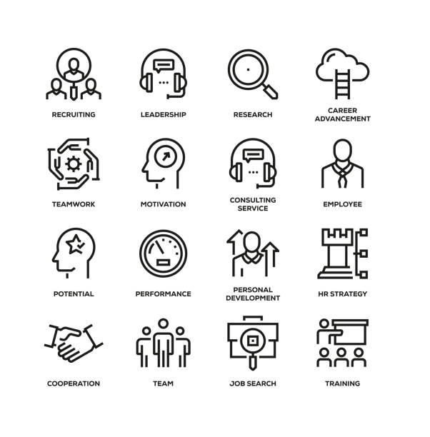 HUMAN RESOURCES LINE ICON SET HUMAN RESOURCES LINE ICON SET recruiter stock illustrations