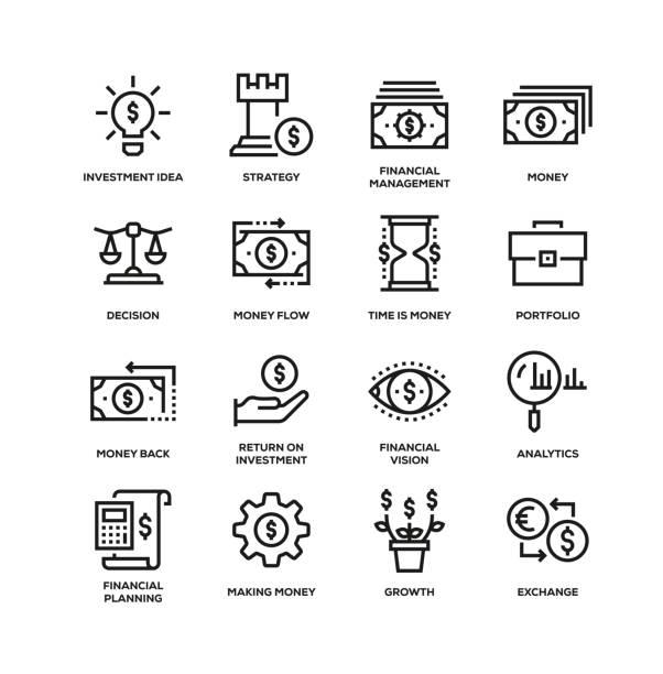 bildbanksillustrationer, clip art samt tecknat material och ikoner med ikon uppsättning för investerings linje - landformation