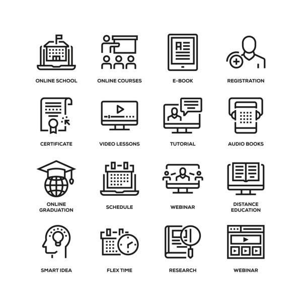 ilustrações, clipart, desenhos animados e ícones de linha de educação online icon set - college people laptop