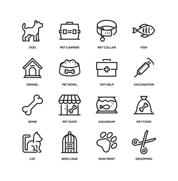 ペットラインアイコンセット - ペットショップ点のイラスト素材/クリップアート素材/マンガ素材/アイコン素材