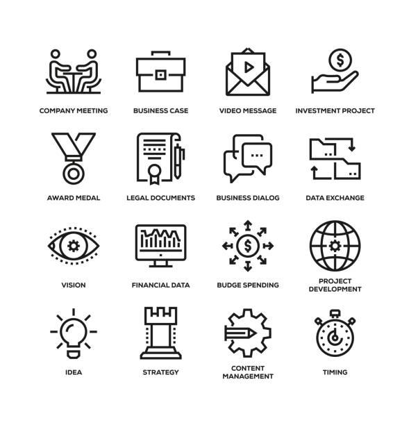 project planning line icon set - иллюстрации на тему архитектура stock illustrations