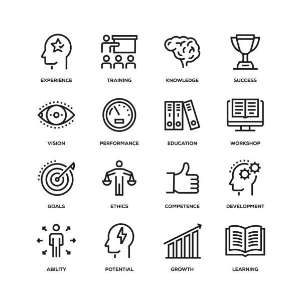 기술 및 모범 사례 라인 아이콘 세트 - 세로 구도 stock illustrations