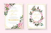 Wedding floral golden invitation card save the date design with pink flowers roses and green leaves wreath and frame. Botanical elegant decorative vector template in watercolor style