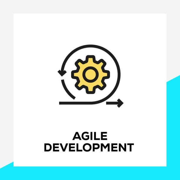 ilustrações de stock, clip art, desenhos animados e ícones de agile development line icon set - agilidade