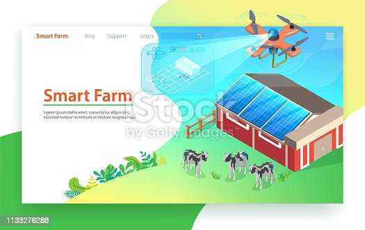 Smart Farm Technology. Drone Control. Isometric Design of Landing Page. Measurement and Automation Farming Elements. Innovation Organic Milk Production and Cow Growing. Solar Energy Panel.