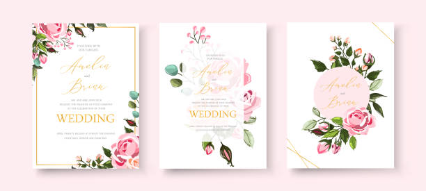 stock-vector-wedding-invitation-floral-invite-thank-you-rsvp-modern-card-design-green-tropical-palm-leaf-1005706003 Wedding floral golden invitation card save the date design with pink flowers roses and green leaves wreath and frame. Botanical elegant decorative vector template in watercolor style anniversary borders stock illustrations