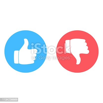 Yes and no sign. Like and dislike icon